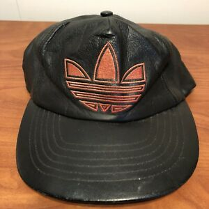 adidas Trefoil Logo Hat Baseball Cap Black Vintage 90s Leather Mens Adult Retro