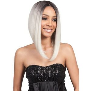 MLF218 LYNA ANGLED BOB | GREY/WHITE/BLOND |SYNTHETIC LACE FRONT WIG | BOBBI BOSS