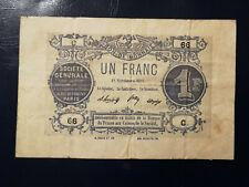 Billet 1 Fr SOCIETE GENERALE Bon de Monnaie Novembre 1871 S.F. Série C TB