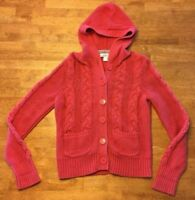 Ann Taylor Loft Women's Pink Long Sleeve Hooded Cable Knit Sweater - Size: Small