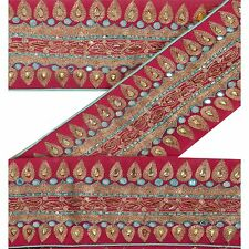 Vintage Sari Border Antique Hand Beaded 1 YD Indian Trim Sewing Pink Zari Lace