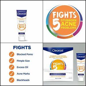 Clearasil Stubborn Acne Control 5 in 1 Spot Treatment Cream Maximum Strength 1oz
