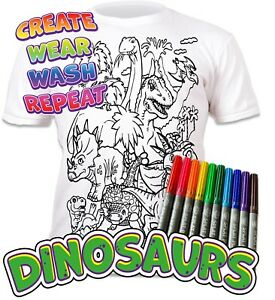 Splat Planet Colour-in Dinosaurs T-Shirt 10 Magic Pens-Colour-in and Wash Out