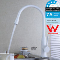 WELS Modern White Kitchen Basin Sink Faucet Deck Mounted Mixer Single Handle Tap