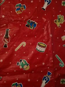 Vintage Red Christmas Flannel Backed Vinyl Tablecloth Nutcracker Dolls Blocks