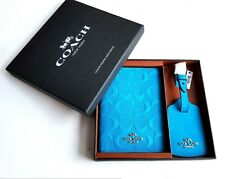 Coach Womens Travel Gift Set Passport Case Luggage Tag Strap Leather £125