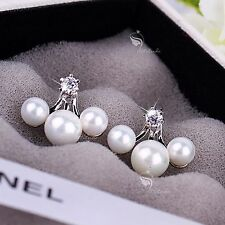 18k white gold gf made with SWAROVSKI crystal stud pearl ear jacket 925 silver