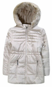 Girls New Coat Kids Quilted Padded Fur Hooded Puffa Trimmed School Jacket 4-14 Y