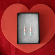 Beautiful Earrings With Blue Opaline And Pink Pearls 3Cm.Long + 925 Silver Hooks