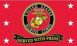 United States Marine Corps Served With Pride 3' x 5' Flag USMC Semper Fi Marines