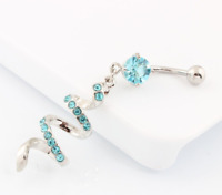 Turquoise Spiral CZ Gem Belly Bar Ring Dangle Navel Body Jewellery UK Seller
