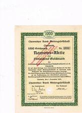 Chemnitzer Bank AG, Chemnitz 1924, 1000 Goldmark, gelocht, VF+