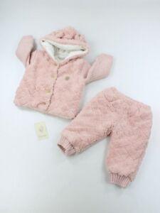 Winter Babykleidung SET Jacke Kapuze mit Ohren Hose Rosa 68 74 80 Mädchen Wolle