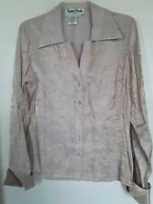 Ronni Nicole by Ouida Womens Top Size L Beige  Glitter Shimmer Long Sleeved