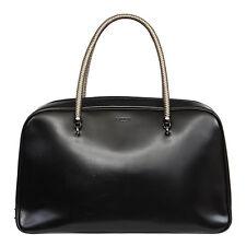 34478 auth LANVIN black leather AMALIA Bowling Handbag Bag