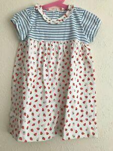 NEW Beautiful ex Baby Boden Stripe / Strawberry Hotchpotch Dress - 0 to 4 Years