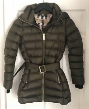 AUTHENTIC Burberry Limefield Belted Down Puffer Coat DARK OLIVE Size XXS $1150