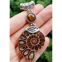 Large Ammonite Fossil And Amethyst Pendant On Silver Plated Snake Chain Necklace
