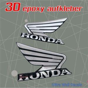 2 x HONDA 3D Gel CHROM- Aufkleber für Motorrad - Sticker - 50mm x 40mm