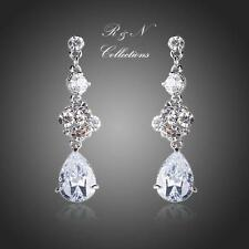 Platinum Plated Elegant Flower Swiss Cubic Zirconia Water Drop Earrings E622-32