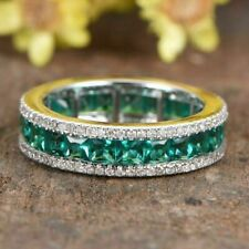 2.00Ct Princess Brilliant Emerald & Diamond Wedding Band Ring 14k White Gold Fn