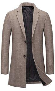 Men's Single Breasted Notched Collar Wool Blend Herringbone Tweed Pea Overcoat