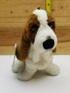 "Applause:  Hush Puppies Basset Hound, 6"" tall, Brown & Cream Fur W/ TAG EUC"