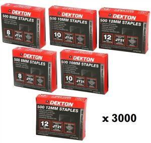 Pack of 3000 Staples DEKTON 8mm 10mm 12mm Thin Assortment Staple Gun Refills
