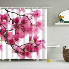 3D Water-resisitant Polyester Shower Curtain Red Flowers Pattern with Hooks