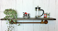Industrial Pipe Style Wooden Wall Shelf Unit Urban Vintage Kitchen Warehouse New