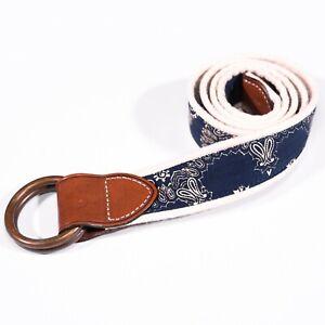 Polo Ralph Lauren Men's Belt Blue White Bandana Print Leather O-Ring New Small