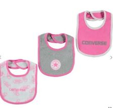 Converse All Star Baby Mädchen Lätzchen Set 3 x Latz Geschenkset Pink Weiß Grau