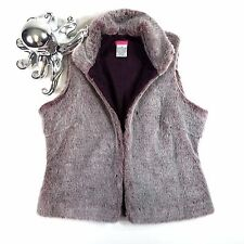 Urban Outfitters Lux Fur Vest Burgundy Hook and Eye Size M
