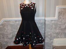 BLACK VERY 1950S ROCKABILLY DAISY ROSES DRESS SIZE 12 NET UNDERSKIRT CHRISTMAS