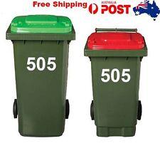 2 X Wheelie garbage Rubbish Bin stickers House Number Vinyl Stickers 15cm Hight