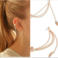 2x Fashion Women Punk Rock Leaf Chain Tassel Dangle Cuff Wrap Earring Ear Stud