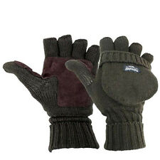Highlander Winter Thinsulate MITTS, Large Olive Fingerless Gloves Suede Palm