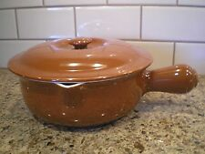 Vintage Hall #648 Brown Covered Casserole Dish with Lid and Handle White Inside