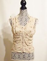 New w/ Tag - Maakif - Ivory w/ Flower Print Cinched Waist Blouse- S/M -$70 Value