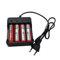 4pcs 18650 6800mAh Battery 3.7V Li-ion Rechargeable Batterie Flat Top&Chargeur