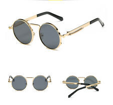 Mens Sunglasses Gothic Steampunk Coat Mirrored Round Circle Sun Glasses Retro