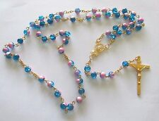 Beautiful Rosary with Blue/Pink Beads, Golden Tone Metal