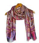 Silk scarf Elegant 180x62 Long Shawl Wrap Designer Paisley Print 195 PINK