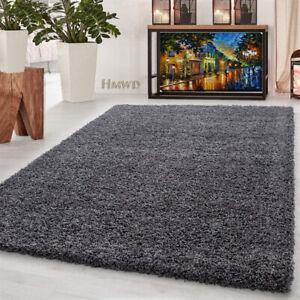 Dark Grey Soft Thick Shaggy Large Rugs Rug Non Slip Living Room Carpet Deep Pile