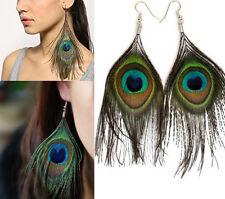 Charms naturel paon queue yeux plumes Dangle Drop Crochet Boucles D'oreilles Party Jewelry