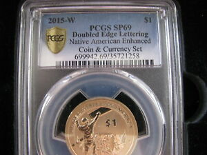 2015-W $1 Doubled Edge Lettering Native American Enhanced Coin & Currency Set!!