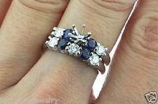 14k Solid White gold natural  Blue Sapphire Diamond Ring setting Semi Mount set