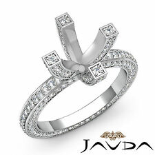 Diamond Wedding Ring 14k White Gold Vintage Style Pave Round Semi Mount 1.9Ct