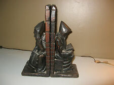 Antique Art Hand Made Carved Wood Monk/Scholar Figural  Book Ends AWESOME !!