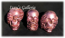Halloween Creepy Metallic Rose Pink Skulls See Hear Speak No Evil Set 3